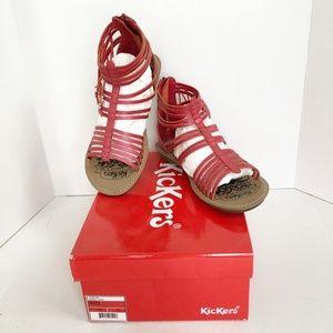 NIB Kickers Lilou Gladiator Sandal Red Sz 6.5